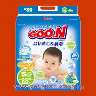 Подгузники (Goon (Гун)) 4-8 кг. 82 шт. (S)